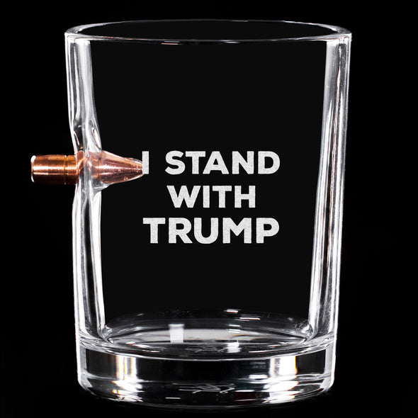 .308 Bullet Whiskey Glass - I Stand With Trump