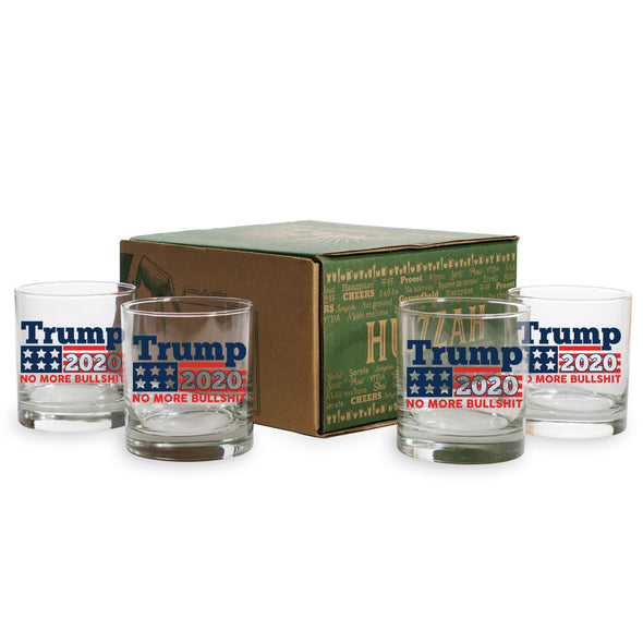 Trump 2020 No More Bullshit - 2 and 4 Pack Whiskey Glasses