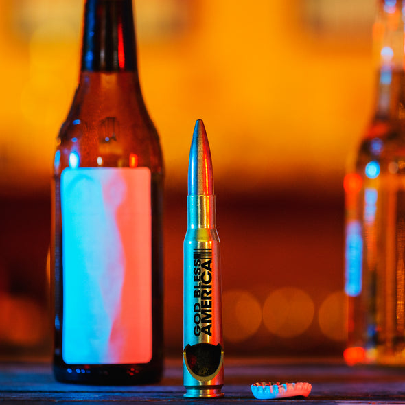 .50 Cal Bottle Opener - God Bless America