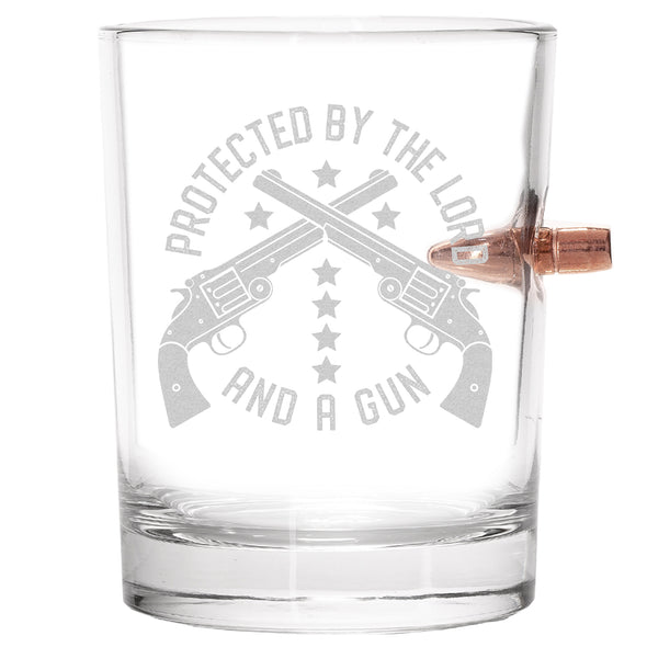 .308 Bullet Whiskey Glass - Protected by the Lord and a Gun