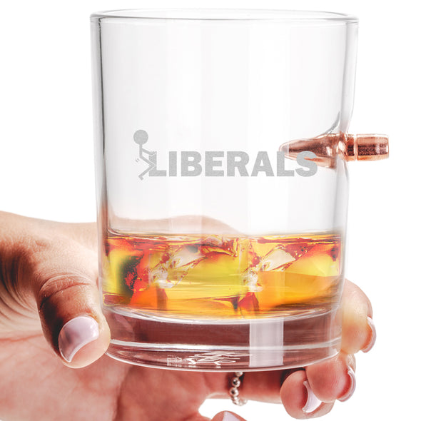 .308 Bullet Whiskey Glass - Fuck Liberals