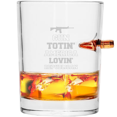 .308 Bullet Whiskey Glass - Gun Totin' America Lovin' Republican