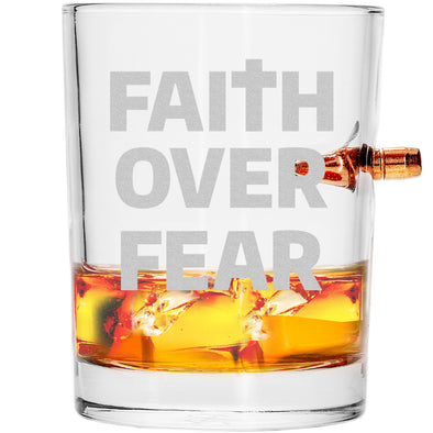 .308 Bullet Whiskey Glass - Faith over Fear