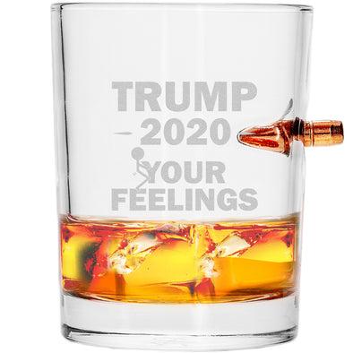 .308 Bullet Whiskey Glass - Trump 2020 Stick Figure - Fuck Your Feelings Long