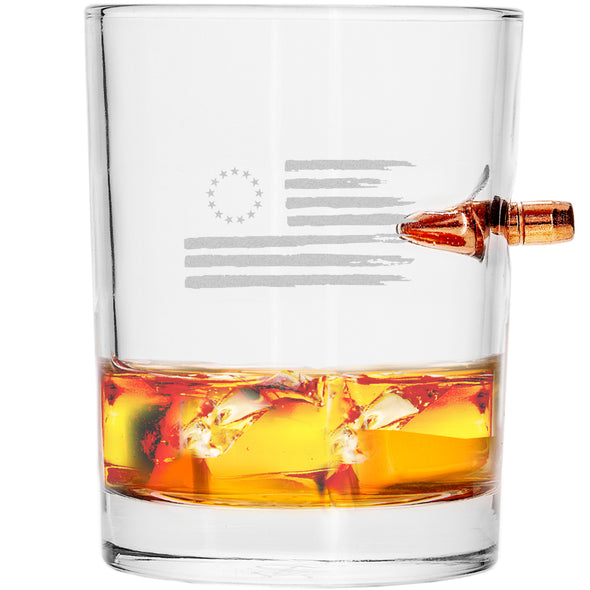 .308 Bullet Whiskey Glass – Betsy Ross Flag
