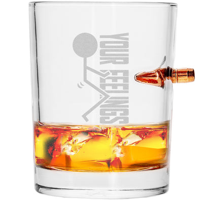 .308 Bullet Whiskey Glass - Stick Figure - Fuck Your Feelings