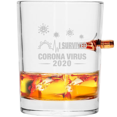 .308 Bullet Whiskey Glass - I Survived Coronavirus 2020