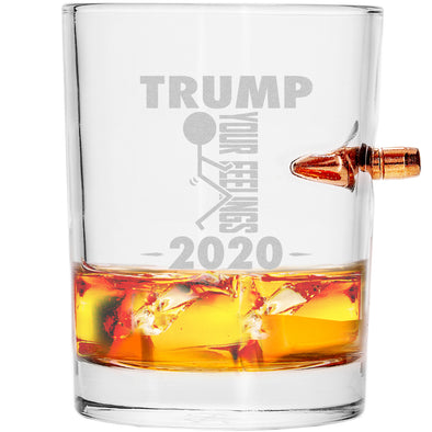 .308 Bullet Whiskey Glass - Trump 2020 Stick Figure - Fuck Your Feelings