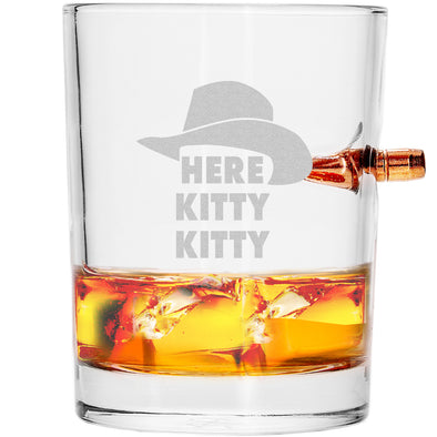 .308 Bullet Whiskey Glass - Here Kitty Kitty