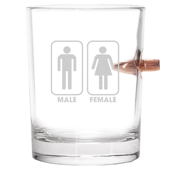 .308 Bullet Whiskey Glass - Gender Sign