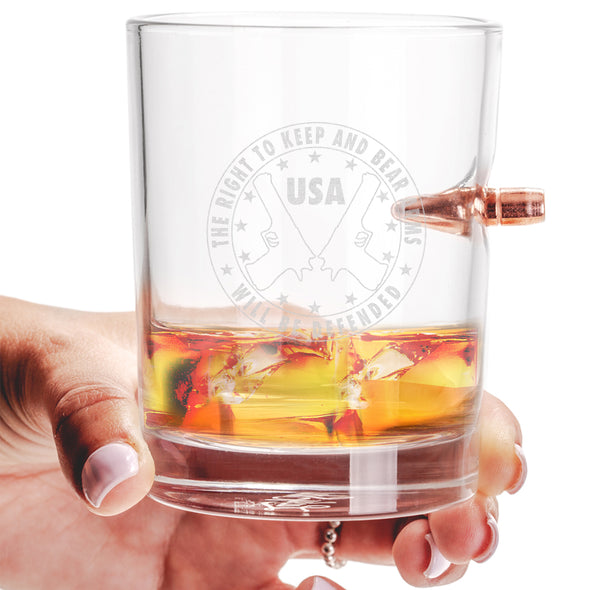 .308 Bullet Whiskey Glass - The Right to Bear Arms Will Be Defended