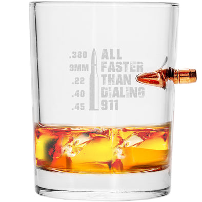 .308 Bullet Whiskey Glass - All Faster than Dialing 911