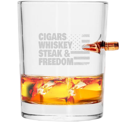 .308 Bullet Whiskey Glass - Cigars, Whiskey, Steak and Freedom