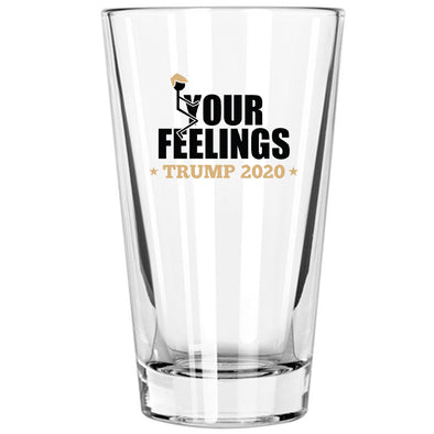 Pint Glass - Trump 2020 Stick Figure in Color - Fuck Your Feelings