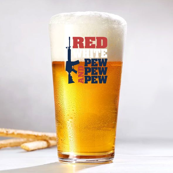 Pint Glass - Red White and Pew Pew Pew