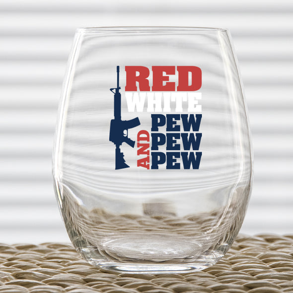 Wine Glass - Red White and Pew Pew Pew