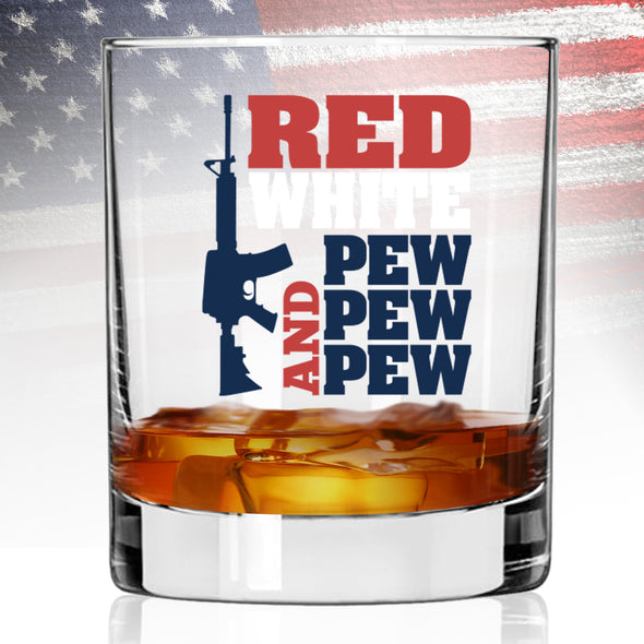 Whiskey Glass - Red White and Pew Pew Pew