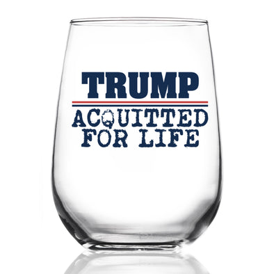 Wine Glass - Trump Acquitted for Life - Color
