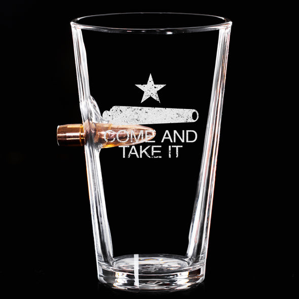 .50 Cal Bullet Pint Glass - Come and Take It Cannon