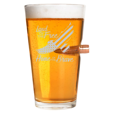 .50 Cal Bullet Pint Glass  - Land of the Free Home of the Brave