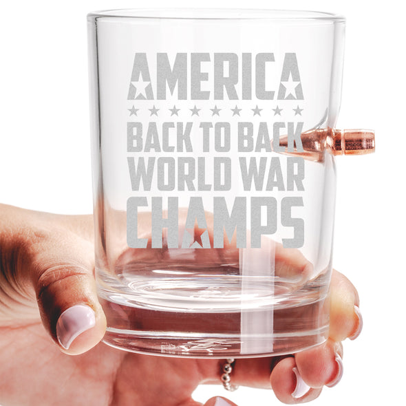 .308 Bullet Whiskey Glass - Back to Back World War Champs
