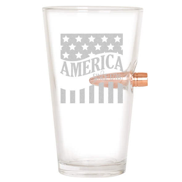 .50 Cal Bullet Pint Glass  - America Since 1776