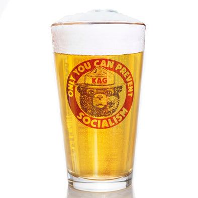 Pint Glass - Smokey the Bear - Only You Can Prevent Socialism
