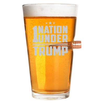 .50 Cal Bullet Pint Glass - 1 Nation Under Trump