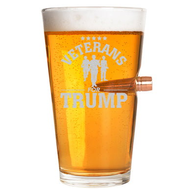 .50 Cal Bullet Pint Glass - Veterans for Trump Soldier Group