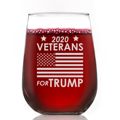 Wine Glass - Veterans for Trump Flag