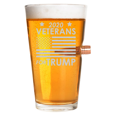 .50 Cal Bullet Pint Glass - Veterans for Trump Flag