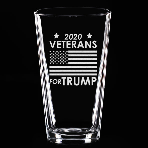 Pint Glass - Veterans for Trump Flag