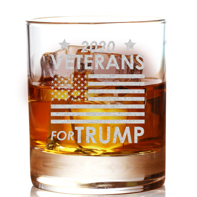 Whiskey Glass - Veterans for Trump Flag