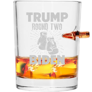 .308 Bullet Whiskey Glass - Trump vs Biden Boxing Round Two
