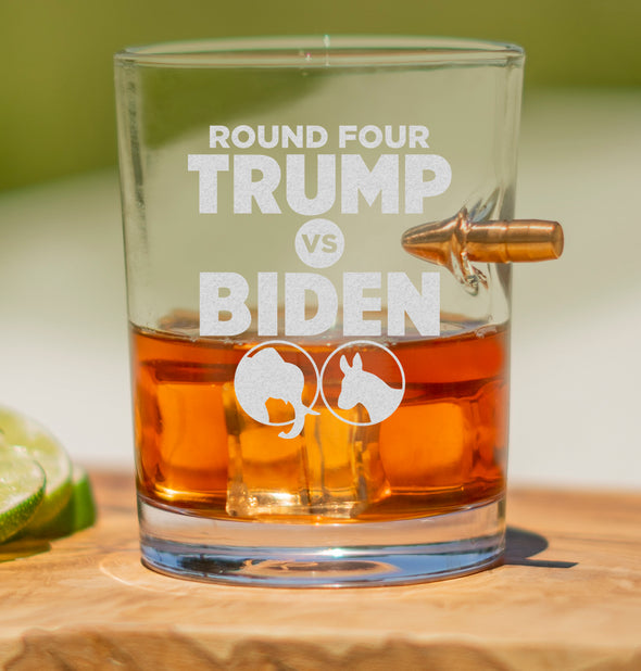 .308 Bullet Whiskey Glass - Trump vs Biden Round Four