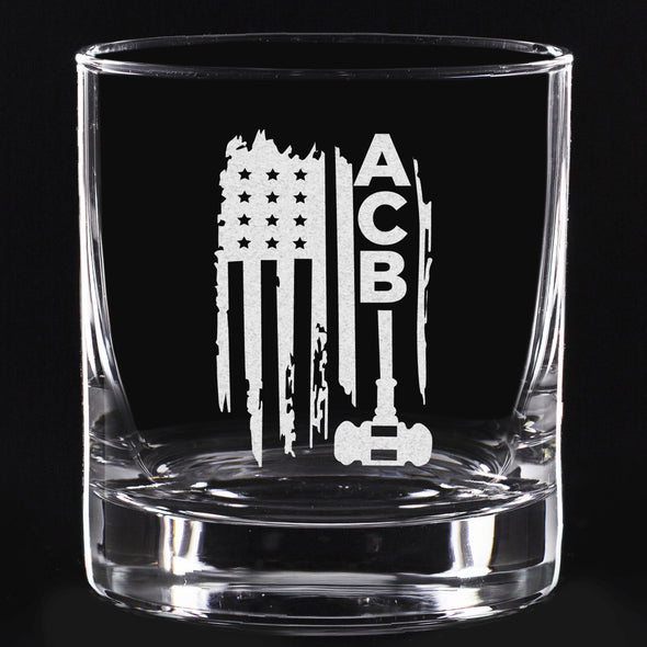 Whiskey Glass - ACB Flag and Gavel