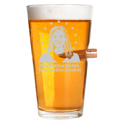 .50 Cal Bullet Pint Glass - New Justice Queen, New Justice Symbol
