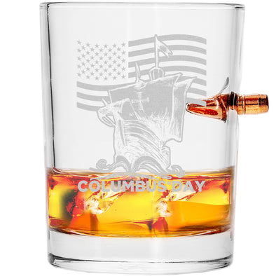 .308 Bullet Whiskey Glass - Patriotic Columbus Day