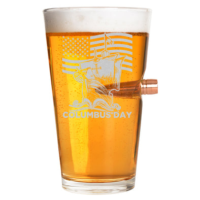 .50 Cal Bullet Pint Glass - Patriotic Columbus Day