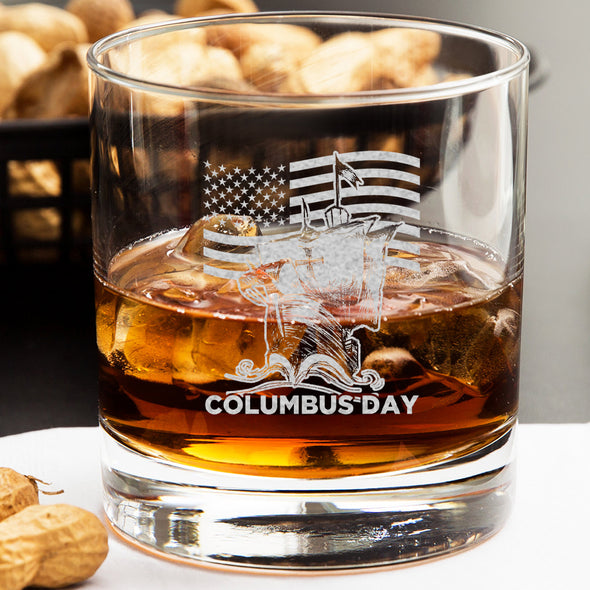 Whiskey Glass - Patriotic Columbus Day