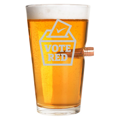 .50 Cal Bullet Pint Glass  - Vote Red