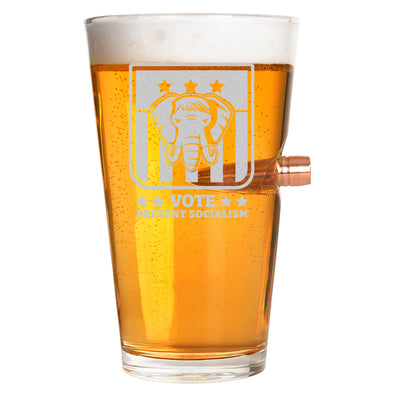 .50 Cal Bullet Pint Glass  - Vote Prevent Socialism
