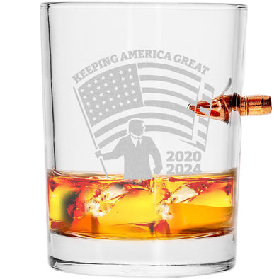 .308 Bullet Whiskey Glass - Flag Keeping America Great