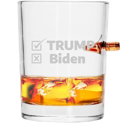 .308 Bullet Whiskey Glass - Trump Biden Checkmark