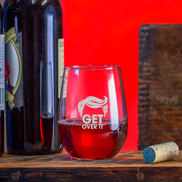 Wine Glass - Get Over It Trump Hair