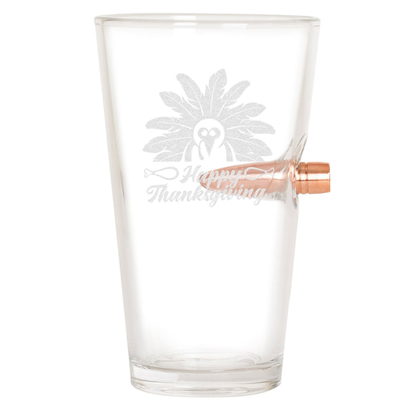 .50 Cal Bullet Pint Glass - Happy Thanksgiving Turkey