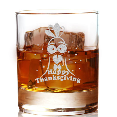 Whiskey Glass - Happy Thanksgiving Turkey Design 2