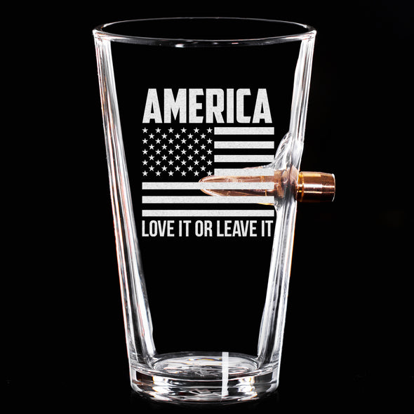 .50 Cal Bullet Pint Glass - America Love It or Leave It