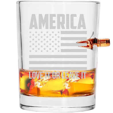 .308 Bullet Whiskey Glass - America Love It or Leave It