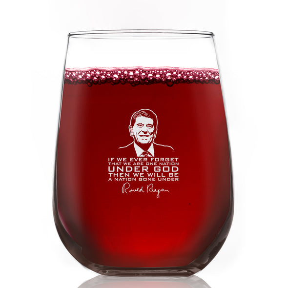 Ronald Reagan Under God Quote - Wine Glass